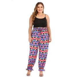 Plus Size Print Waist Tie Pants NSOY46130
