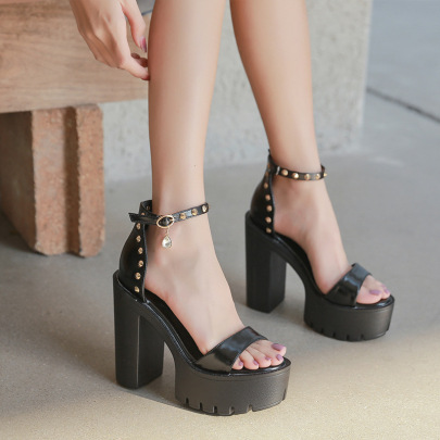 New Rhinestone High Heel Waterproof Platform Rivet Sandals NSHU39077