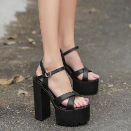 New Thick Heel Waterproof Platform Cross Strap Super High Heel Sandals NSHU39083