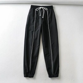 Fashion Elastic Waist Tie-up Sports Trousers NSHS39201