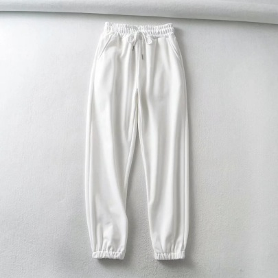 Elastic Waist Tie-up Solid Color Sports Long Pants NSHS39214
