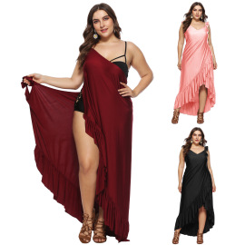 Large Size Ruffled Beach Dress NSOY46252
