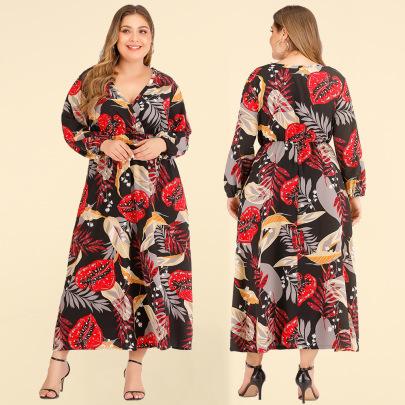 Summer New Plus Size Sexy V-neck Dress NSJR46345