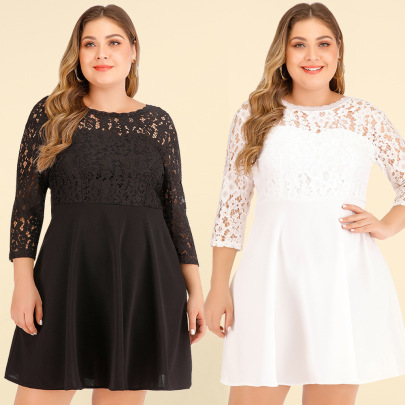 Plus Size New Long-sleeved Dress NSJR46346