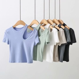 Solid Color Cut Out Top NSHS46725
