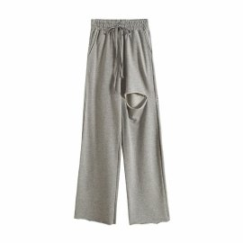 Hole Wide-leg Sports Pants  NSHS46812