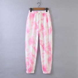 Elastic High Waist Tie-dye Printed Sports Pants  NSHS46958