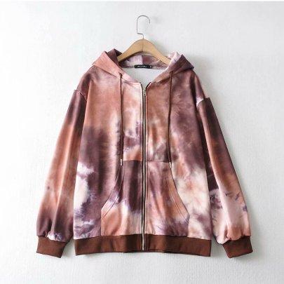 Loose Long-sleeved Hooded Cardigan Sweatshirt NSAM39288