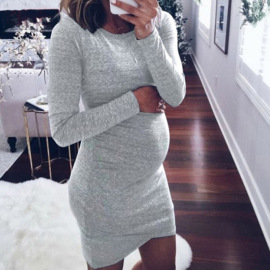 Solid Color Long Sleeve Maternity Dress NSZH47016