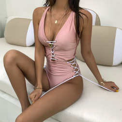 Pink Cross Tie Rope One-piece Beach Swimsuit  NSHL47146