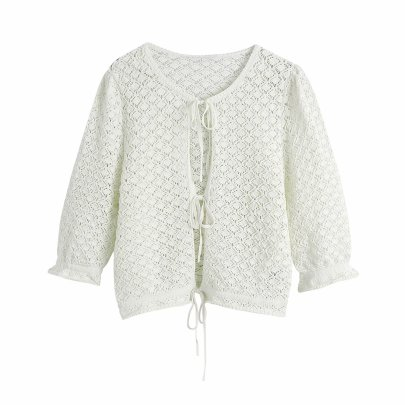 White Hollow Tie Front Knit Cardigan NSAM48699