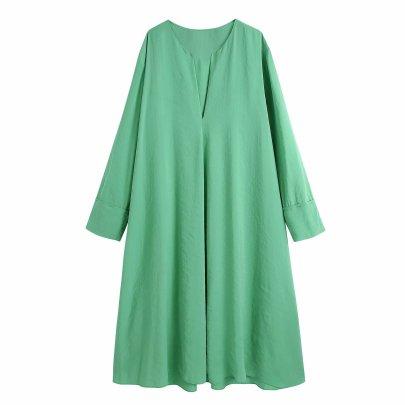 Solid Color Loose Long Sleeve Midi Dress  NSAM48869