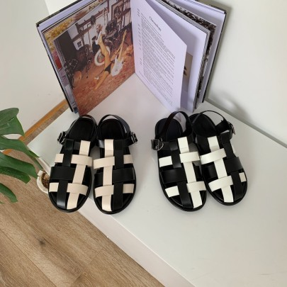 Woven Leather Flats Sandals NSHU49009