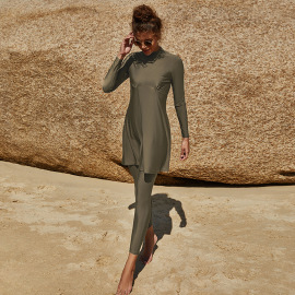 High Neck Long Sleeve Bikini Swimsuit Set NSLM49047