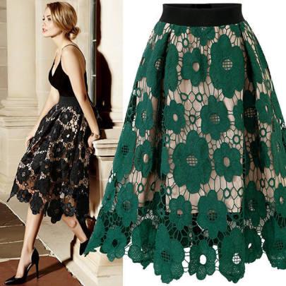 Plus Size Floral Cut Out Lace Skirt NSCX49067