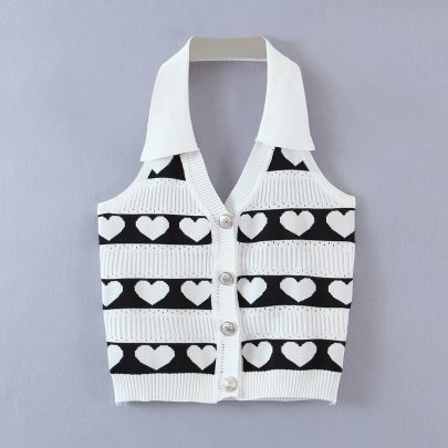 Lapel Heart Single-breasted Knitted Vest NSAM49152