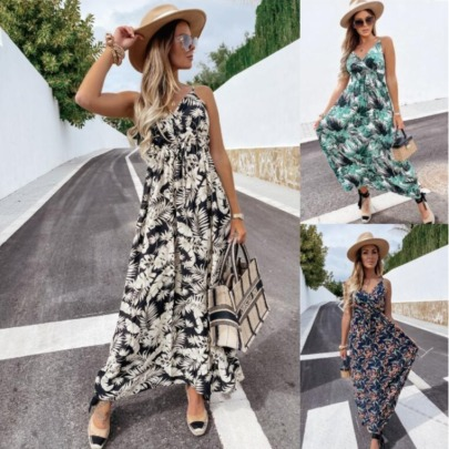 Summer New Sleeveless Printed Bohemian Dress NSYF49202