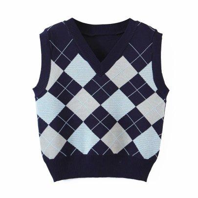 Diamonded Print V-neck Knit Vest NSAM49535