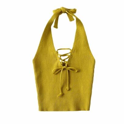 Tie Rope V-neck Knitted Halterneck Vest NSHS49557