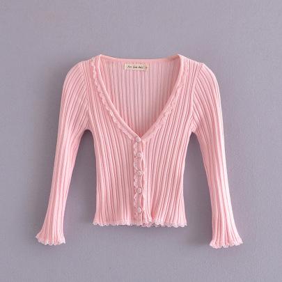 Lace Trim V-neck Knit Cardigan NSAM49686