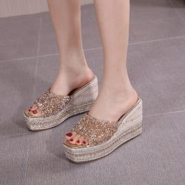 Sequins Decor Wedge Sandals NSHU49818