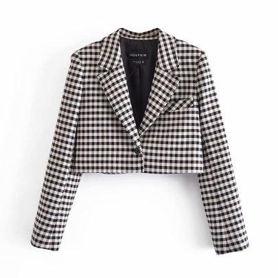 Spring Plaid Suit Jacket NSAM50394