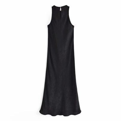 Spring Sleeveless Black Dress  NSAM50421