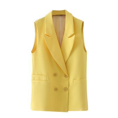 Loose Double-breasted Sleeveless Jacket  NSAM49772
