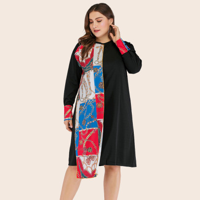 Plus Size Printing Stitching Long-sleeved Dress NSJR50653
