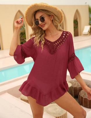 Hollow Stitching Ruffled Three-quarter Sleeves Irregular Dress NSOY51055