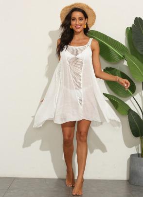 Crochet Stitching Irregular Big Swing Beach Dress  NSOY51059