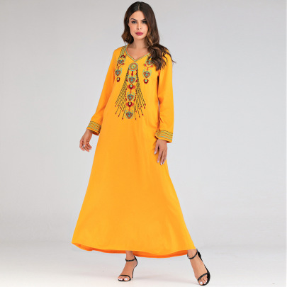 V-neck Loose Embroidery Long Dress  NSCX51208