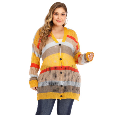 Large Size Color Stripe Contrast Stitching Woven Cardigan NSOY51863