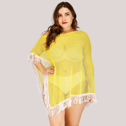 Large Size Mesh Stitching Long Fringed Beach Blouse  NSOY51871