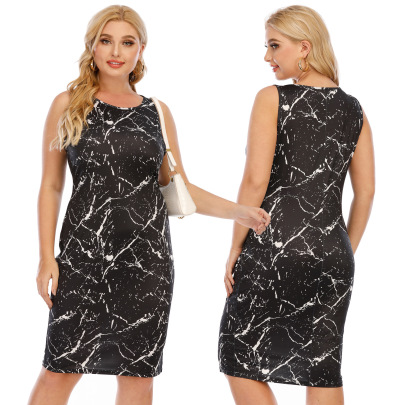 Plus Size Printed Slim Hip Vest Dress  NSOY52055