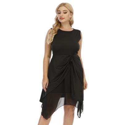 Plus Size Irregular Mesh Stitching Vest Dress  NSOY52057
