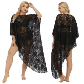 Plus Size Sexy Hollow Flower Lace Beach Dress  NSOY52059