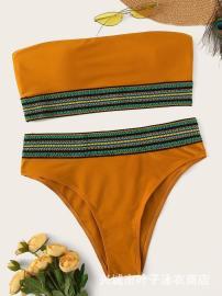 New Sexy National Wind Belt Wrapped Chest High Waist Split Bikini Swimsuit NSHL52267