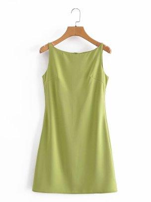 Solid Color Back Zipper Slim Sleeveless Dress  NSAM52284