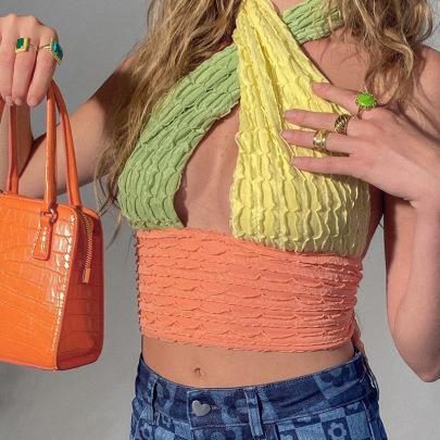 Halter Neck Fashion Contrast Color Sexy Waistless Small V-neck Top NSXE52311
