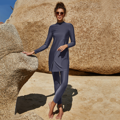 Solid Color Long-sleeved Trousers Full-cover Swimsuit NSLM52316