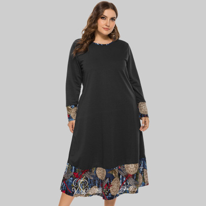 Plus Size Loose Round Neck Stitching Long-sleeved Mid-length Dress  NSJR52369
