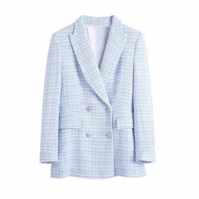 New Fashion Wholesale Spring Plaid Texture Slim Suit Jacket NSAM52396