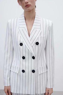 Fashion Striped Double-breasted Pockets Splicing Blazer NSAM52472
