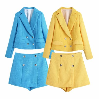 Solid Color Texture Double-breasted Short Suit Jacket NSAM52476