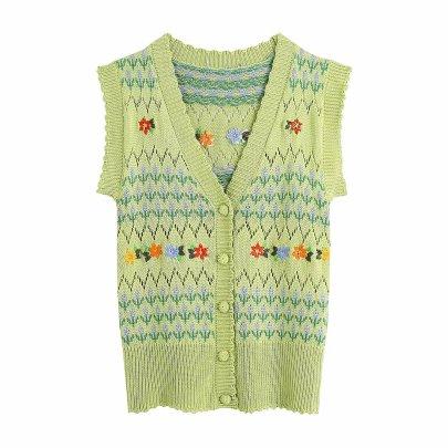 V-neck Single-breasted Flowers Decor Knitted Vest  NSAM52478