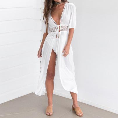 Fashion V-neck Lace Stitching Lace-up Long Cardigan Dress NSJR52977