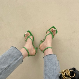 Ankle Strap Square Toe Heeled Sandals NSHU52997