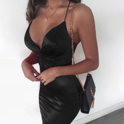 Sexy V-neck Low-cut Sling Solid Color Bag Hip Dress NSHHF53636
