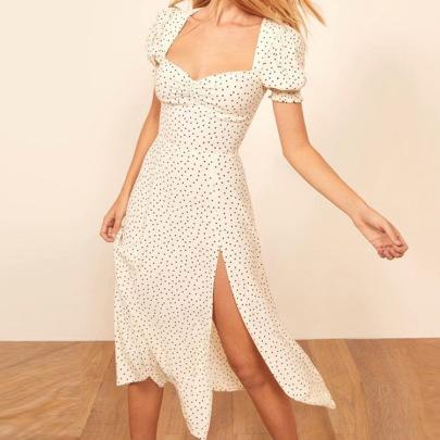 Puff Short-sleeve Square Neck Bag Hip Split Mid-length Dress NSHHF53696